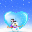Snowman Greeting Card with Heart — Stock Photo