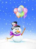 Karty z pozdrowieniami bałwana z balonów — Zdjęcie stockowe