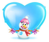 Snowman (girl) with Heart — Stock Photo