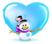 Snowman with Heart — Stock Photo