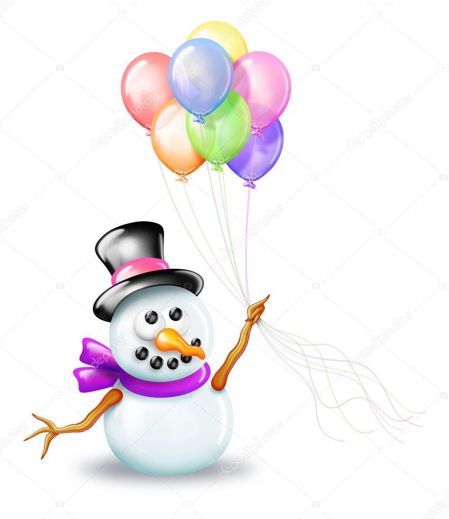 Snowman Holding Birthday Cake