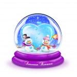 Cartoon Snow Globe with Snowman and Snow-woman — Stock Photo