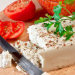 Cheese with tomato sauce — Stock Photo