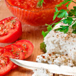 Stock Photo: Cheese with tomato sauce