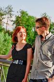 Women and men smiles outdoor — Stock Photo