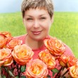 Stock Photo: Smile women with roses