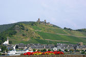 Thurant Castle and the town of Alken — Stock Photo