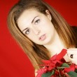 Young girl holding a Poinsettia — Stock Photo