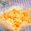Risotto with pumpkin in a cheese basket — Stok fotoğraf