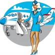 Stock Vector: Air hostess