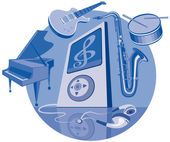 Digital player and musical instruments — Stock Vector
