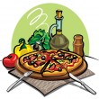 Stock Vector: Pizza, olive oil and vegetables