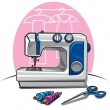 Stock Vector: Sewing machine