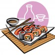 Stock Vector: Sushi japfood