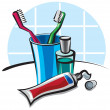 Toothbrushes and toothpaste — Stock Vector