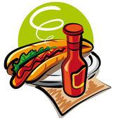 Hot dog and ketchup — Stock Vector