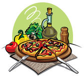 Pizza, olive oil and vegetables — Stock Vector