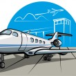 Stock Vector: Business jet airplane