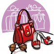 Female handbag, shoes and sunglasses — Stock Vector