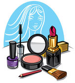 Cosmetic make up kit — Stock Vector