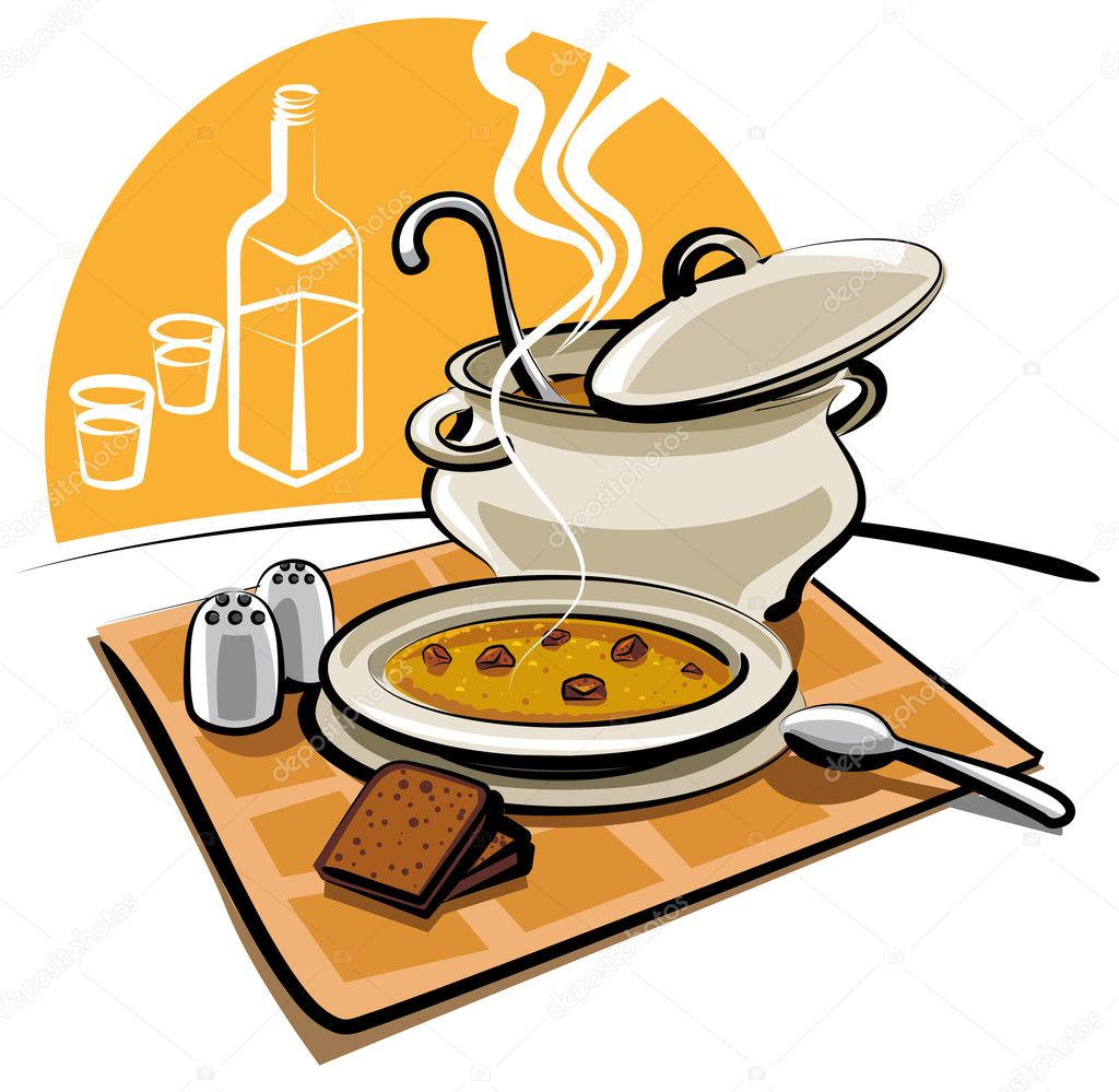 Soup with croutons  Stock Vector #7848771
