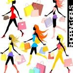 Shopping girls — Stock Vector #7369689