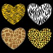 Hearts with animal print — Stock Vector