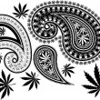 Stock Vector: Paisley cannabis and skull