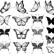 Butterfly vector set — Stock Vector