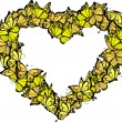 Vector de stock : Heart shape frame of butterflies