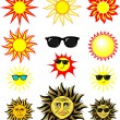 Set of cartoon sun illustrations - Image vectorielle