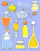 Set of perfume bottles — Stock Vector