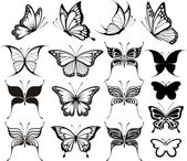 Butterfly vector set — Stockvektor