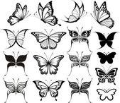 Butterfly vector set — Stock Vector