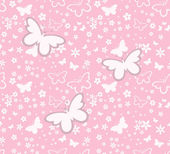 Butterflies silhouettes seamless pattern on pink background — Stock Vector