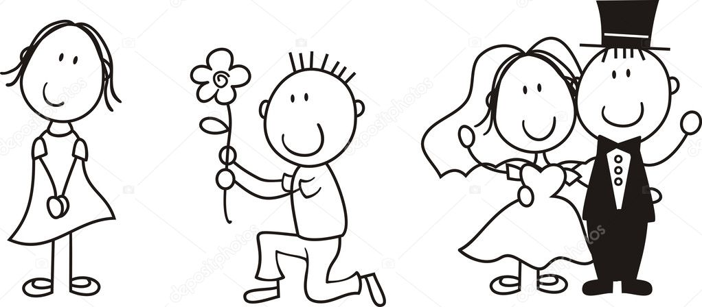 set of isolated couple cartoon ideal for funny wedding invitation