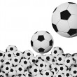 Many soccer balls on white background — Stock Photo #7426083
