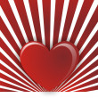 One hearts on a red white striped background — Stock Photo