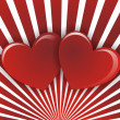 Two hearts on red white striped background — Stock Photo #7427725