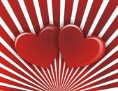 Two hearts on a red white striped background — Stock Photo