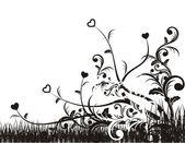 фон с folliage и любовь — Cтоковый вектор
