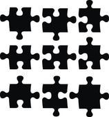 Blank puzzle pieces, image applicable to several concepts — Stock Vector