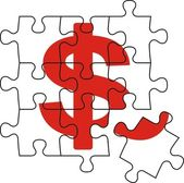 Contant geld puzzel — Stockvector