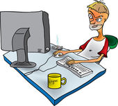 Russian designer at work in the office — Stock Vector