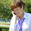Difficult conversation business lady on the phone — Stock Photo