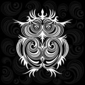 Owl on ornament background — Stock Vector