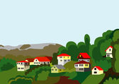 Village houses mountain and forest — Stock Vector