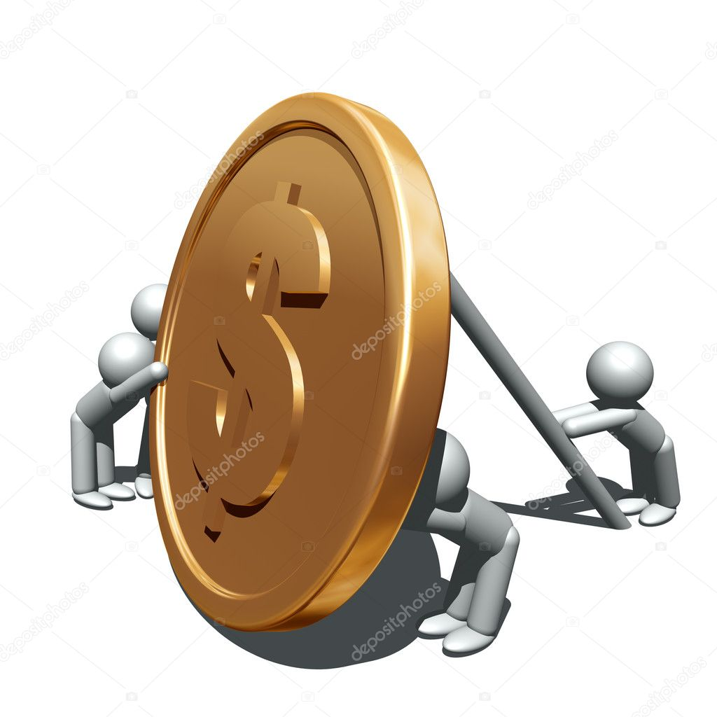 3d illustration of and gold coin — Foto de Stock   #7428800