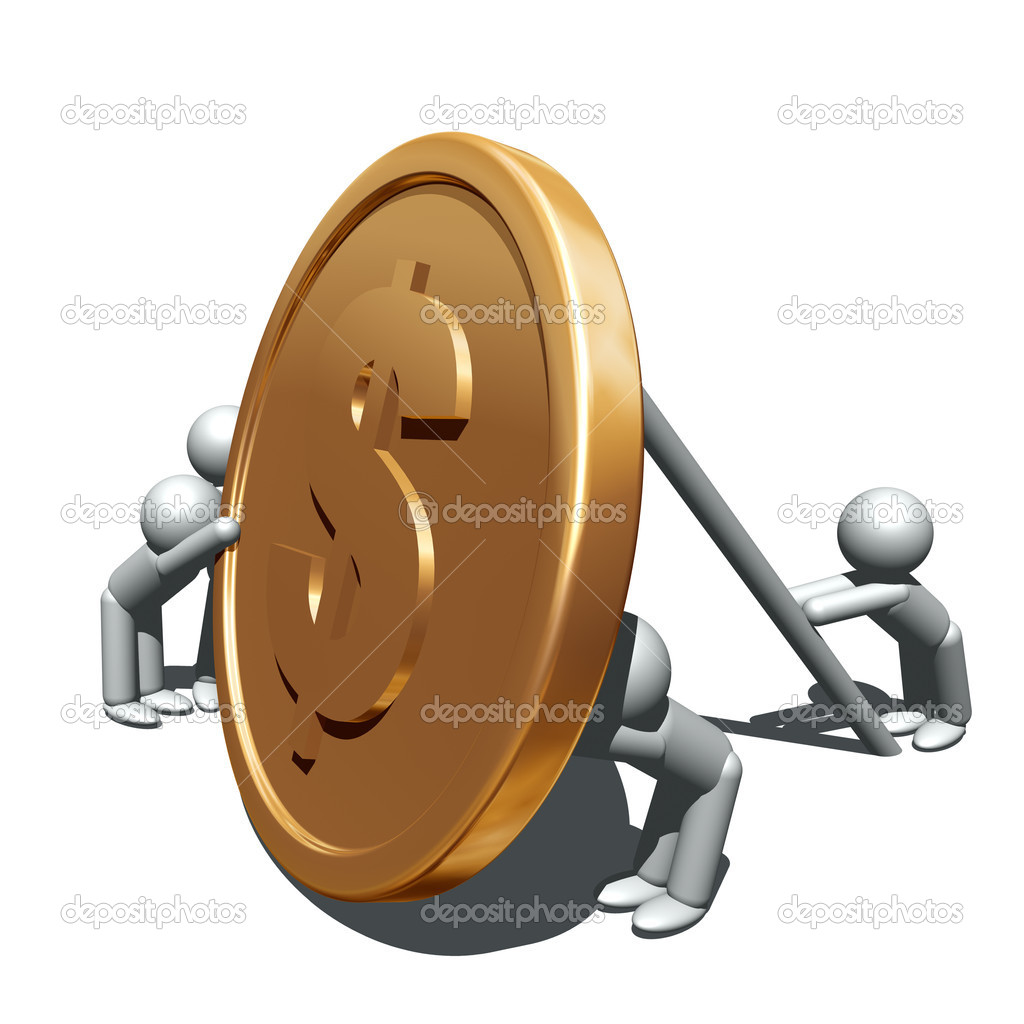 3d illustration of and gold coin    #7428800