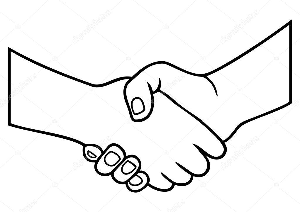 Illustration and contours of handshake  — Stock Vector #7424739